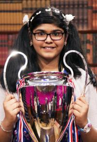 Child Genius winner Sharon Daniel with her trophy